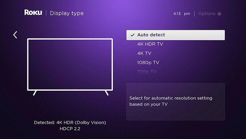 Auto Detect in Roku Display type settings