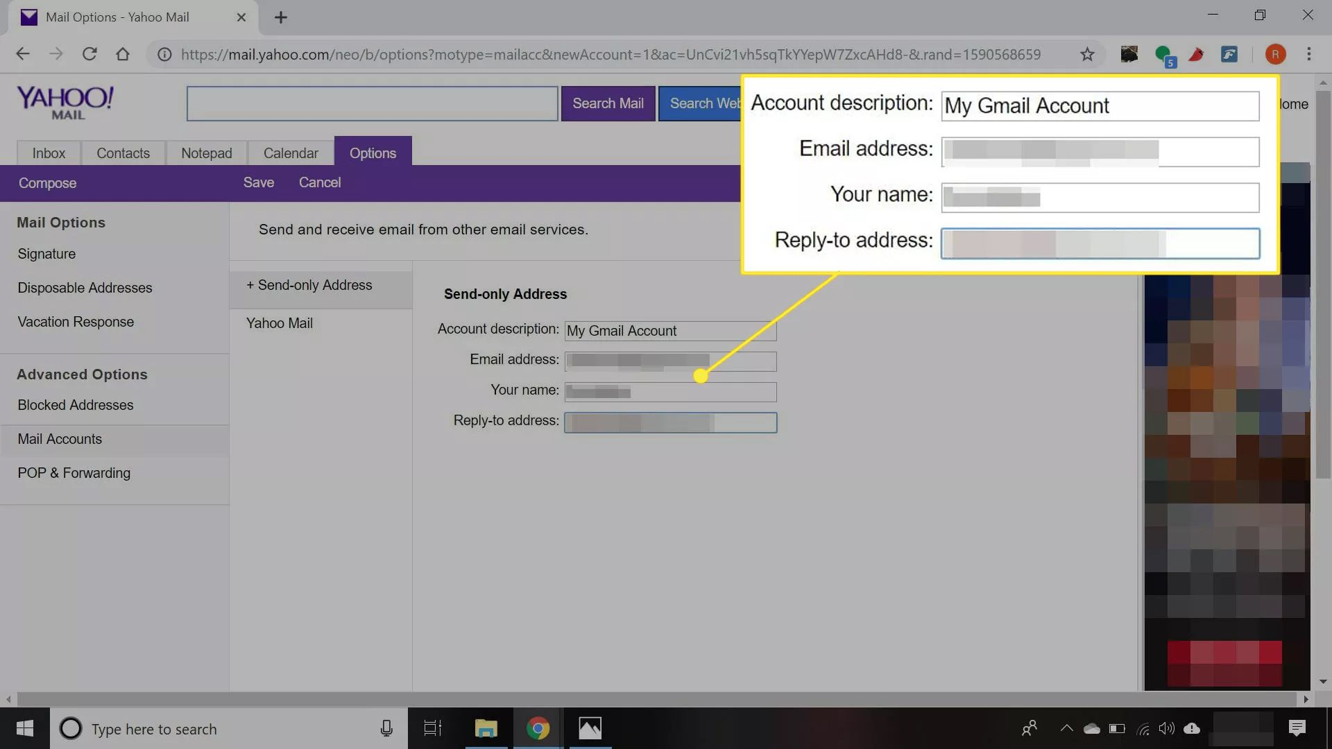 Yahoo Mail settings showing an alternate account