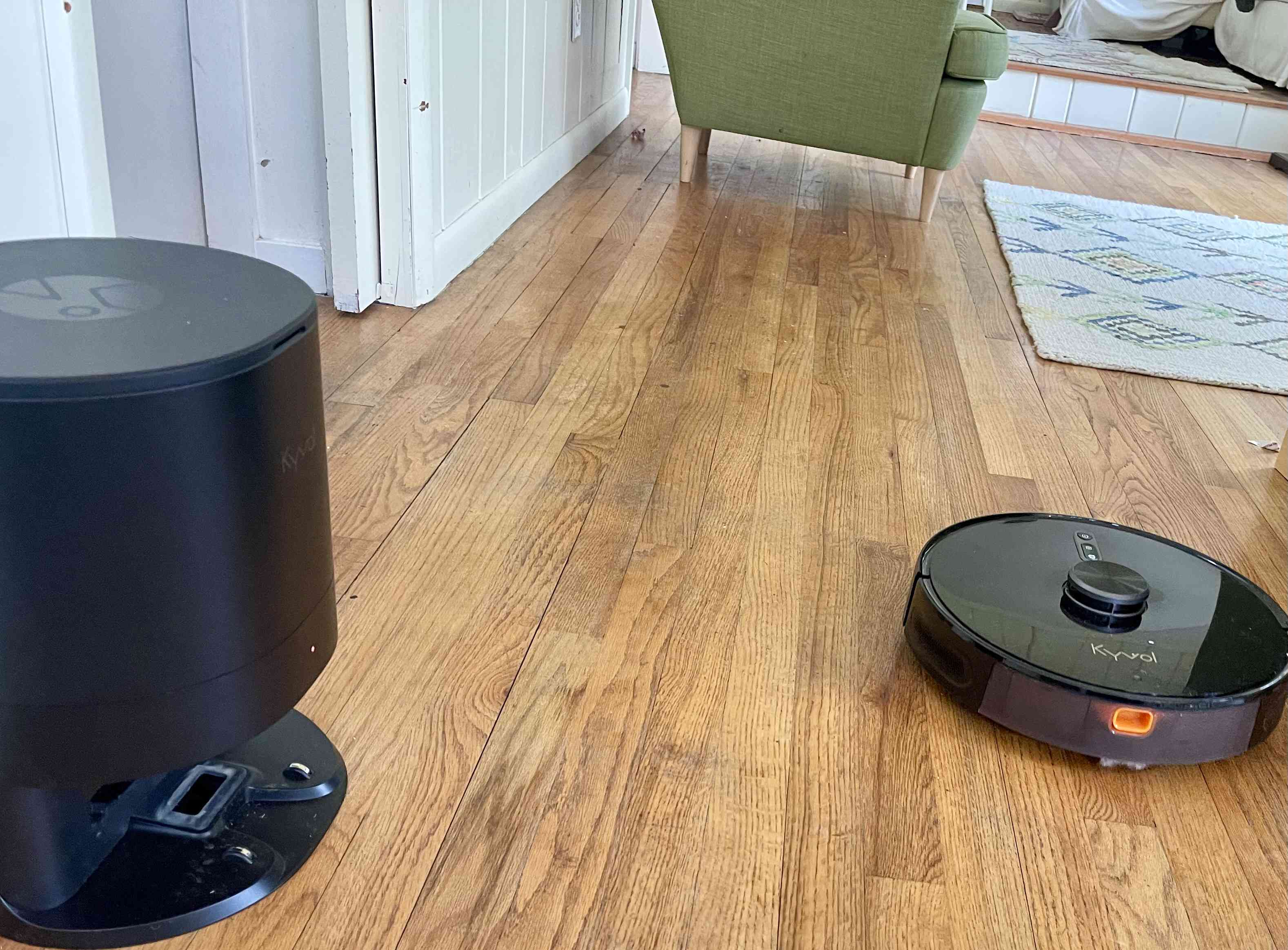 Cybovac S31 Cleaning Robot separated from its dock and navigating a room