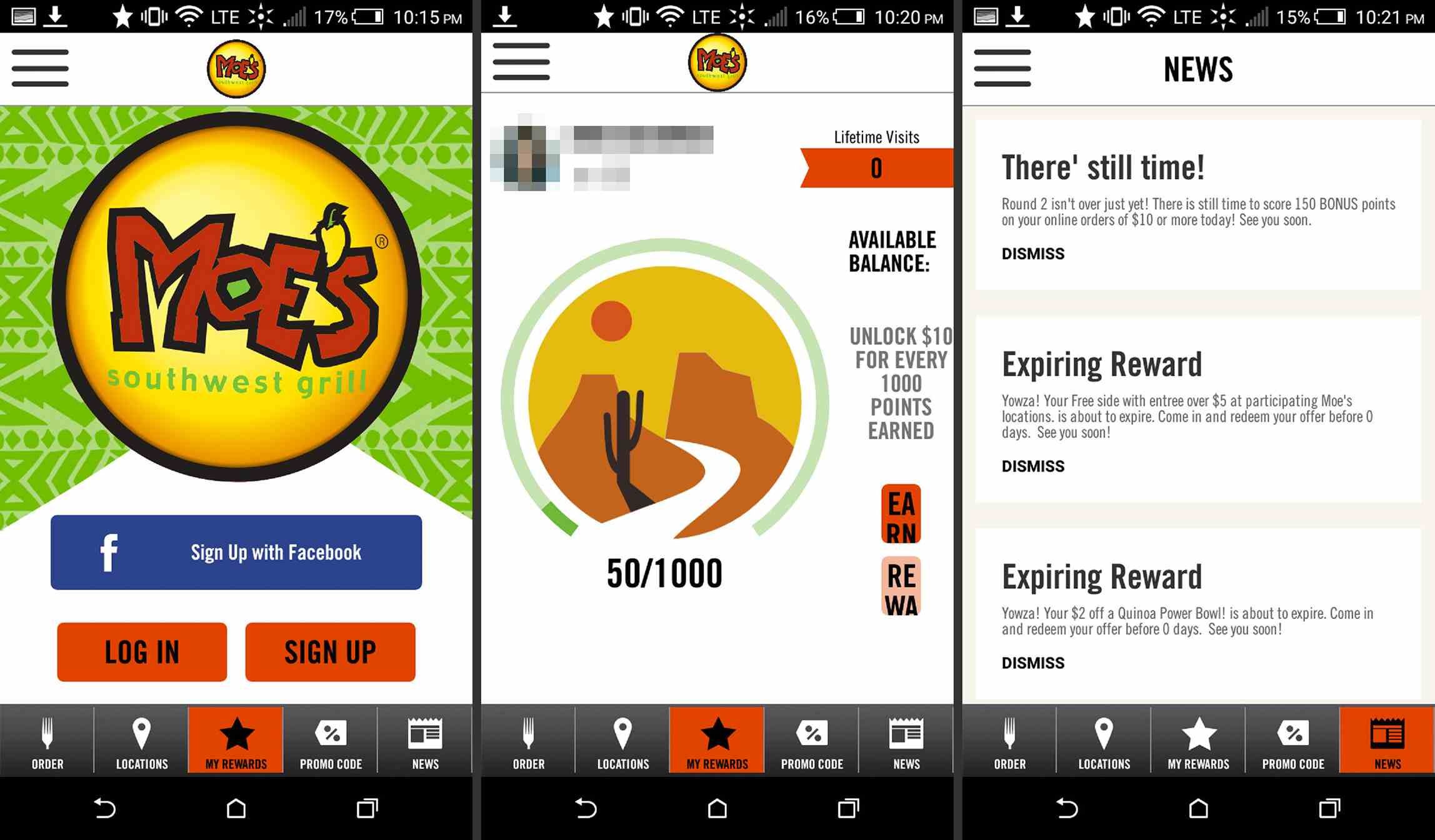 Moe's app on Android
