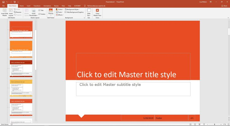 PowerPoint Slide Master view.