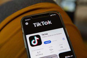 Closeup of a smartphone showing the TikTok app.