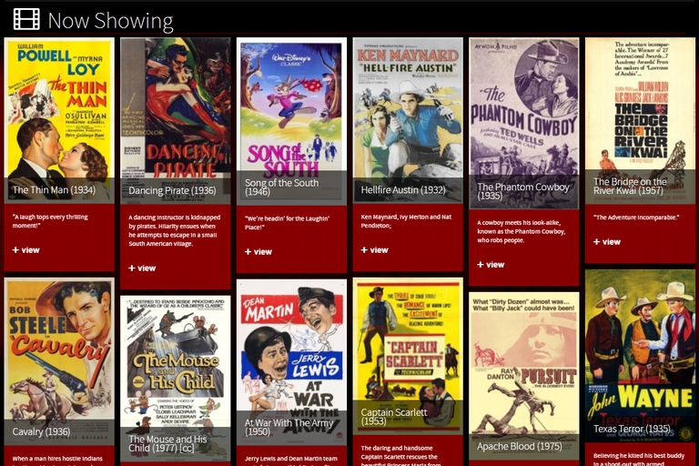 Classic Cinema Online home page