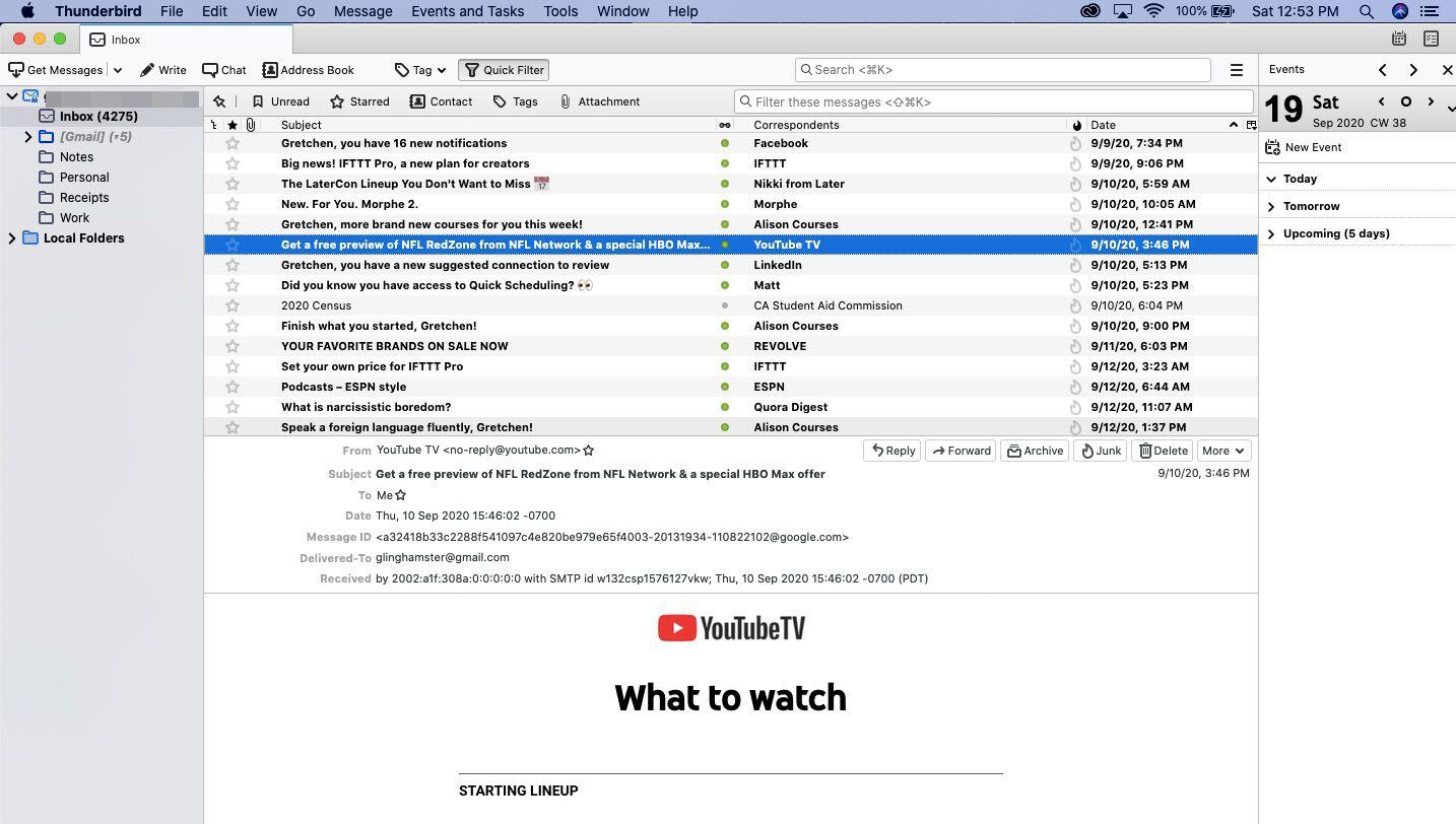 Highlight an unread message in your Thunderbird inbox.