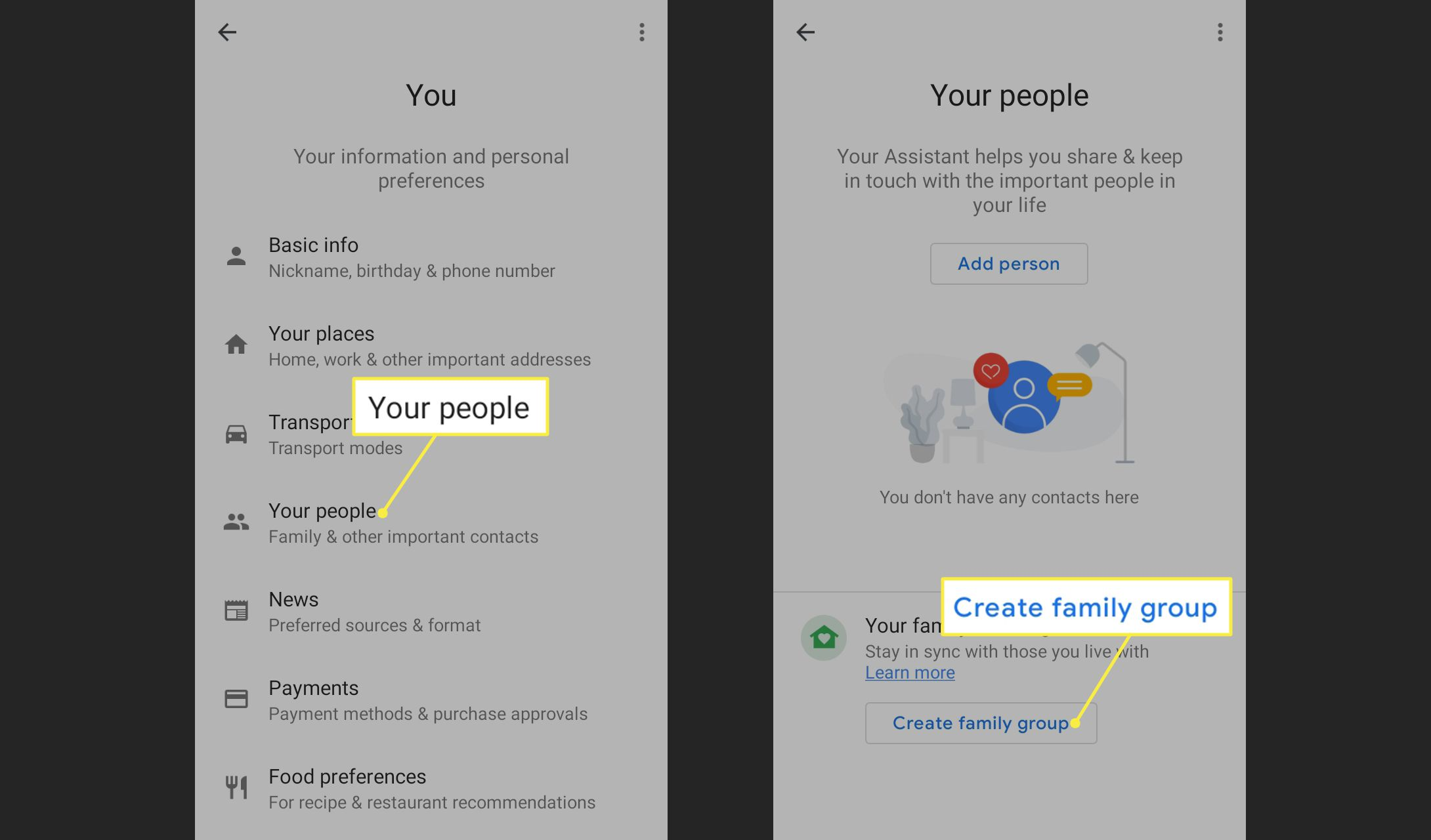 Your People and Create Family Group in Google Home app