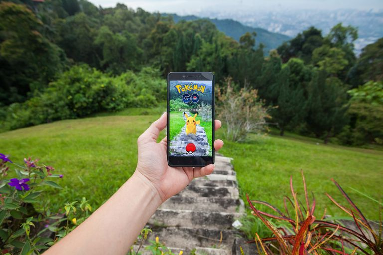 Pokemon Go on a smartphone.