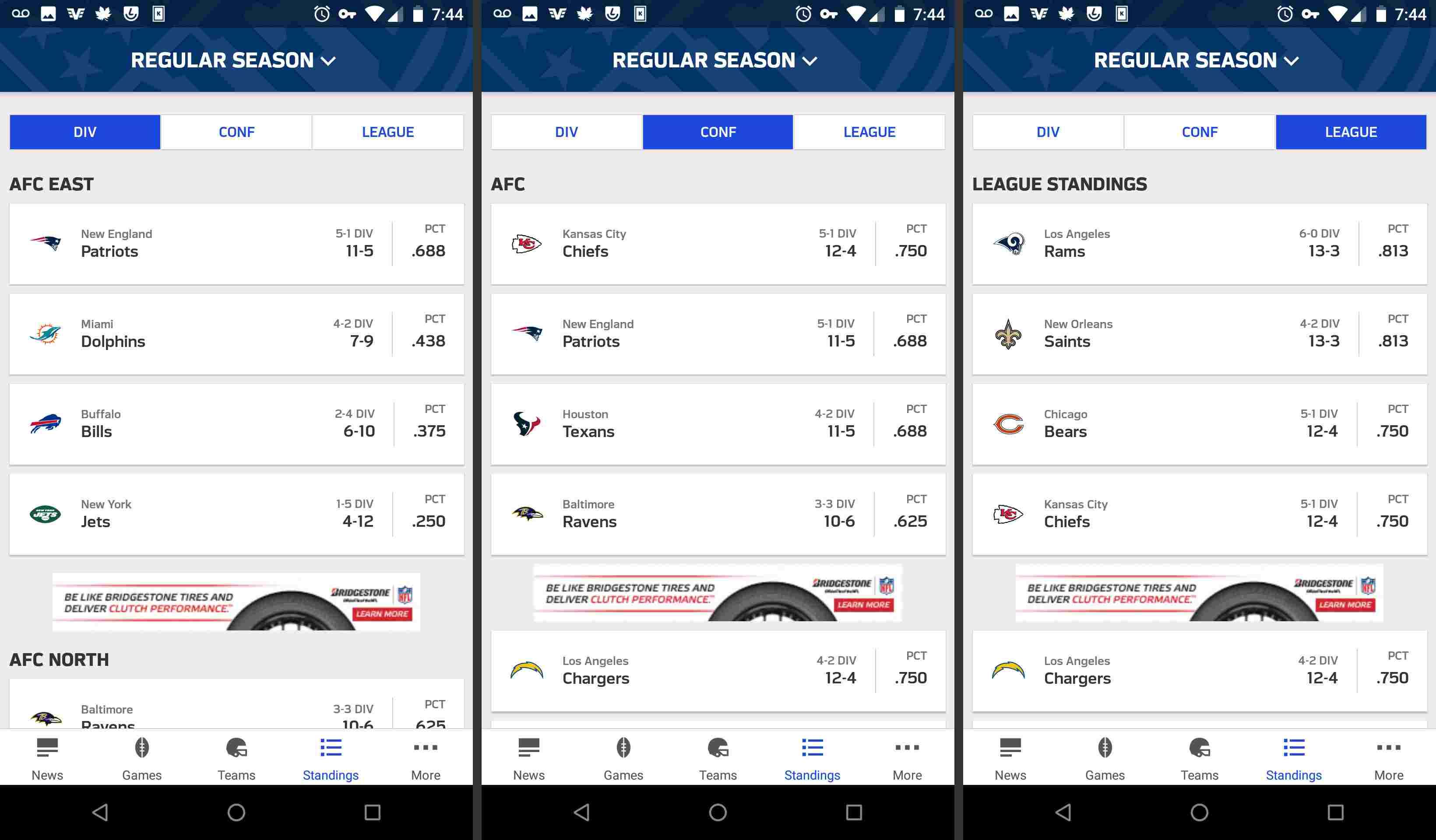 NFL mobile app standings week to week