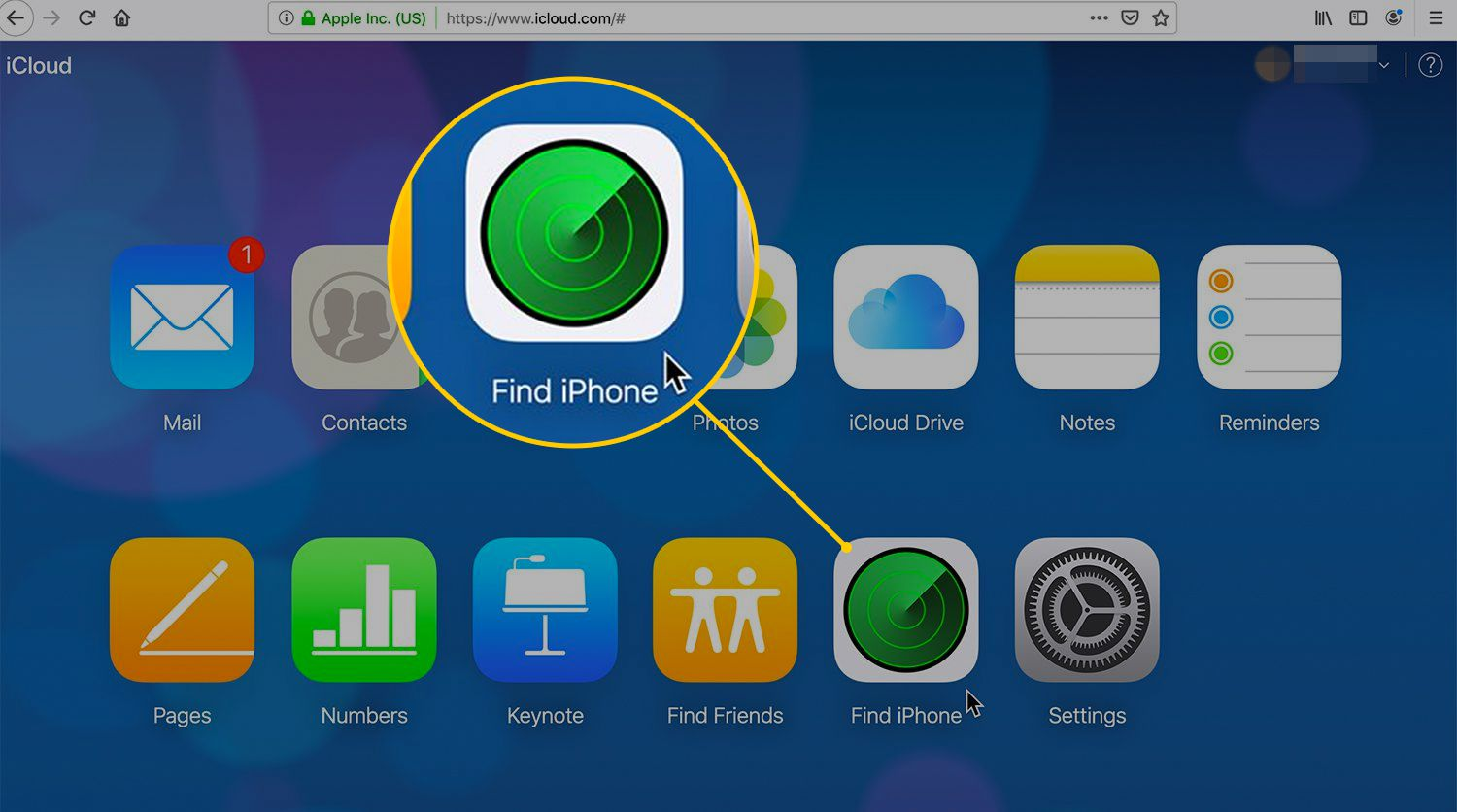Find iPhone button on iCloud website