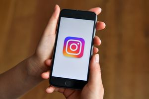 Instagram logo on a smartphone.