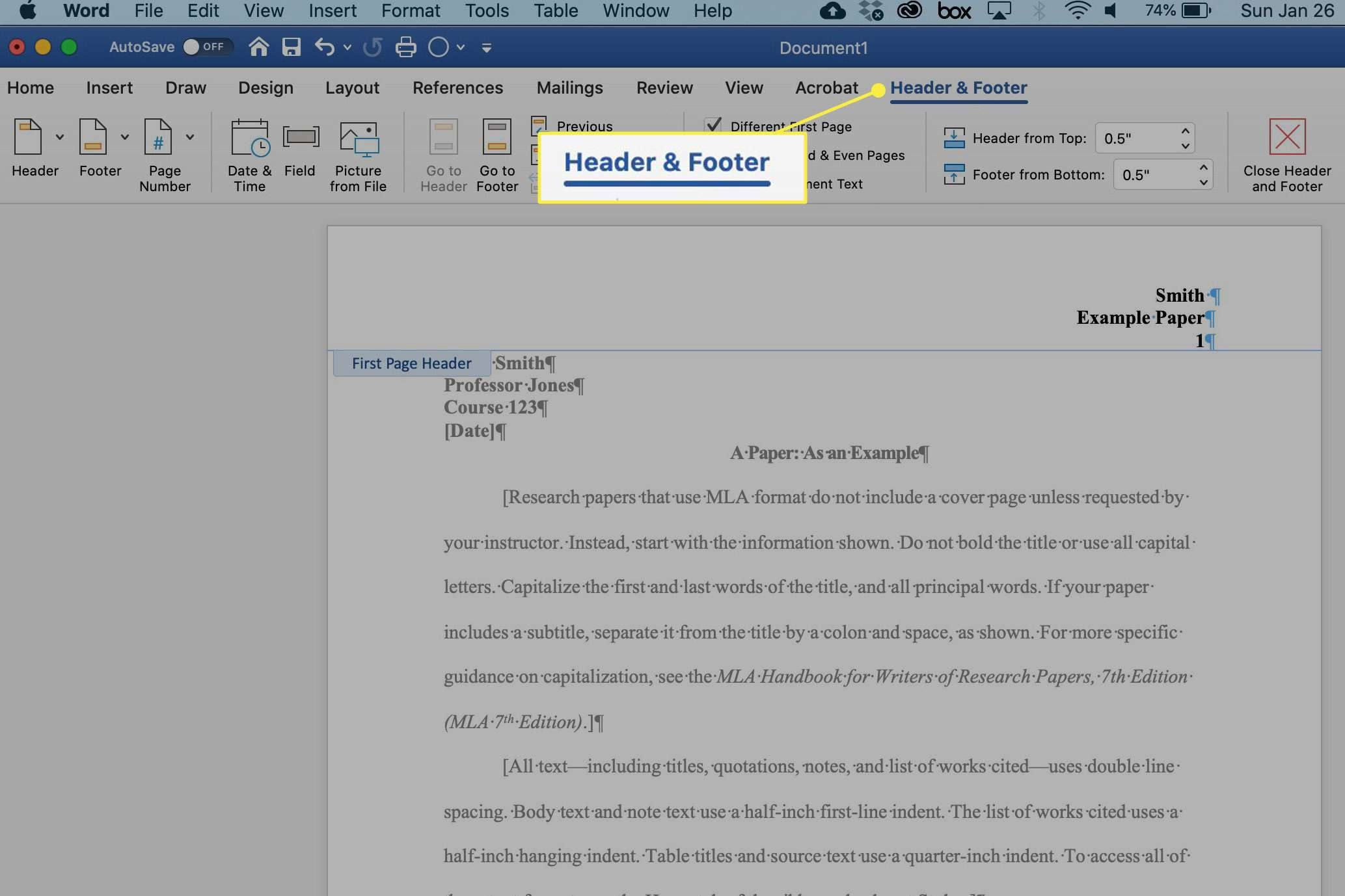 A screenshot of Word with the Header & Footer menu highlighted