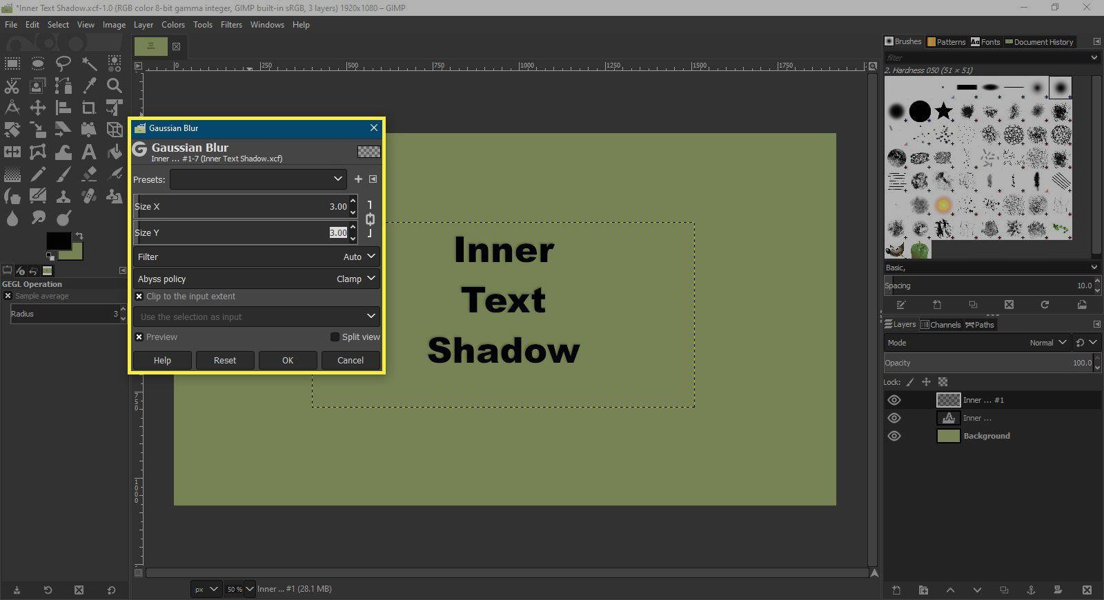 A screenshot of GIMP with the Gaussian Blur dialog box highlighted