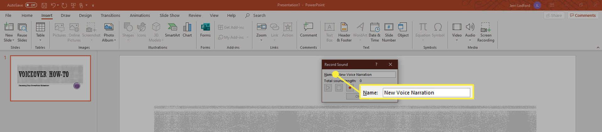 A screenshot showing the Record Sound controls in PowerPoint