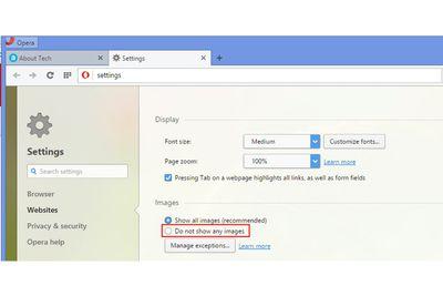 Image settings in Opera web browser