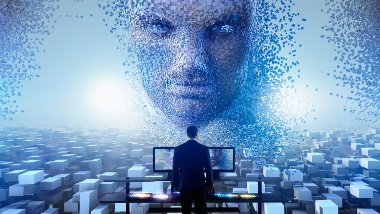 Image of a digital artificial intelligence, chatbot, emerging from the internet with a man standing in front wearing a suit