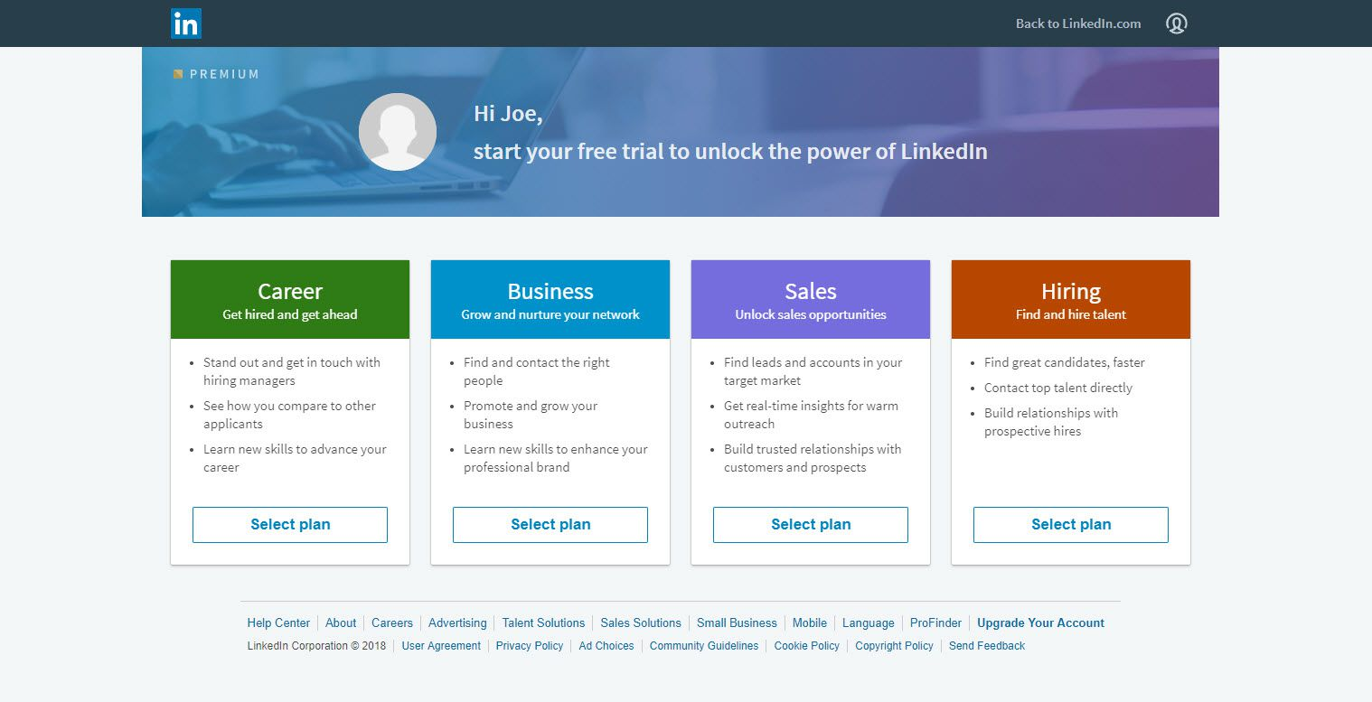 Screenshot of the LinkedIn upgrade page, showing the four upgrade plans available.