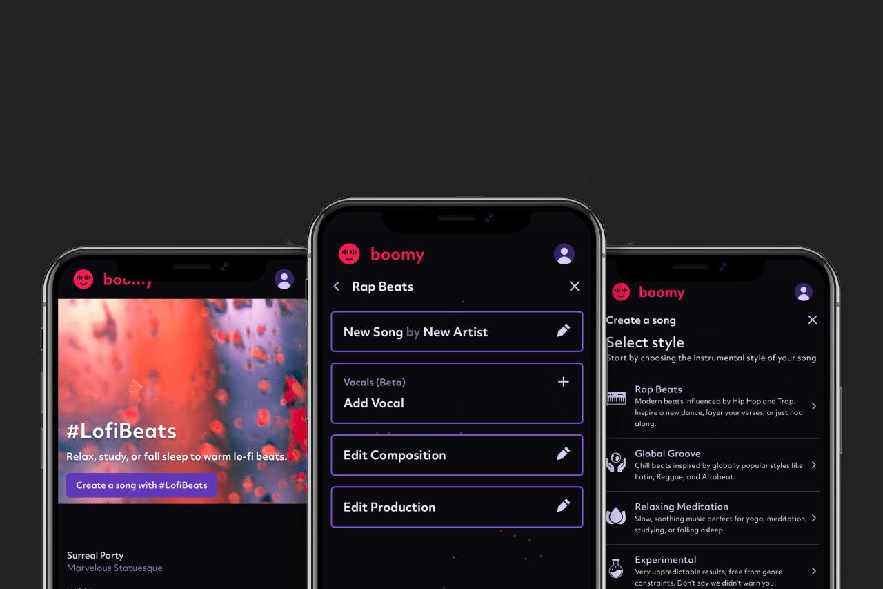 Screenshot examples of Boomy on three iPhone screens.