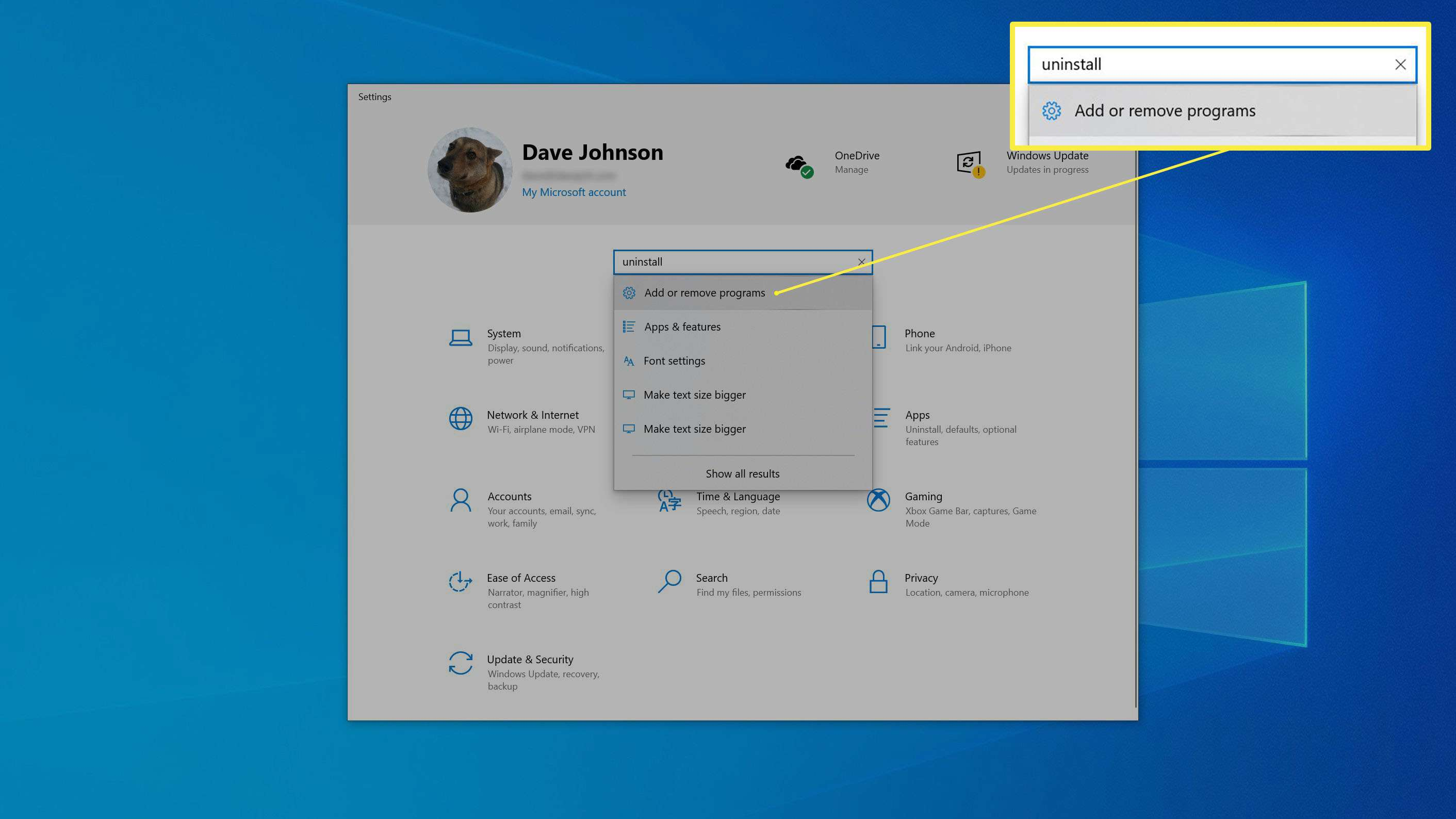 The Settings window with a search taking place.
