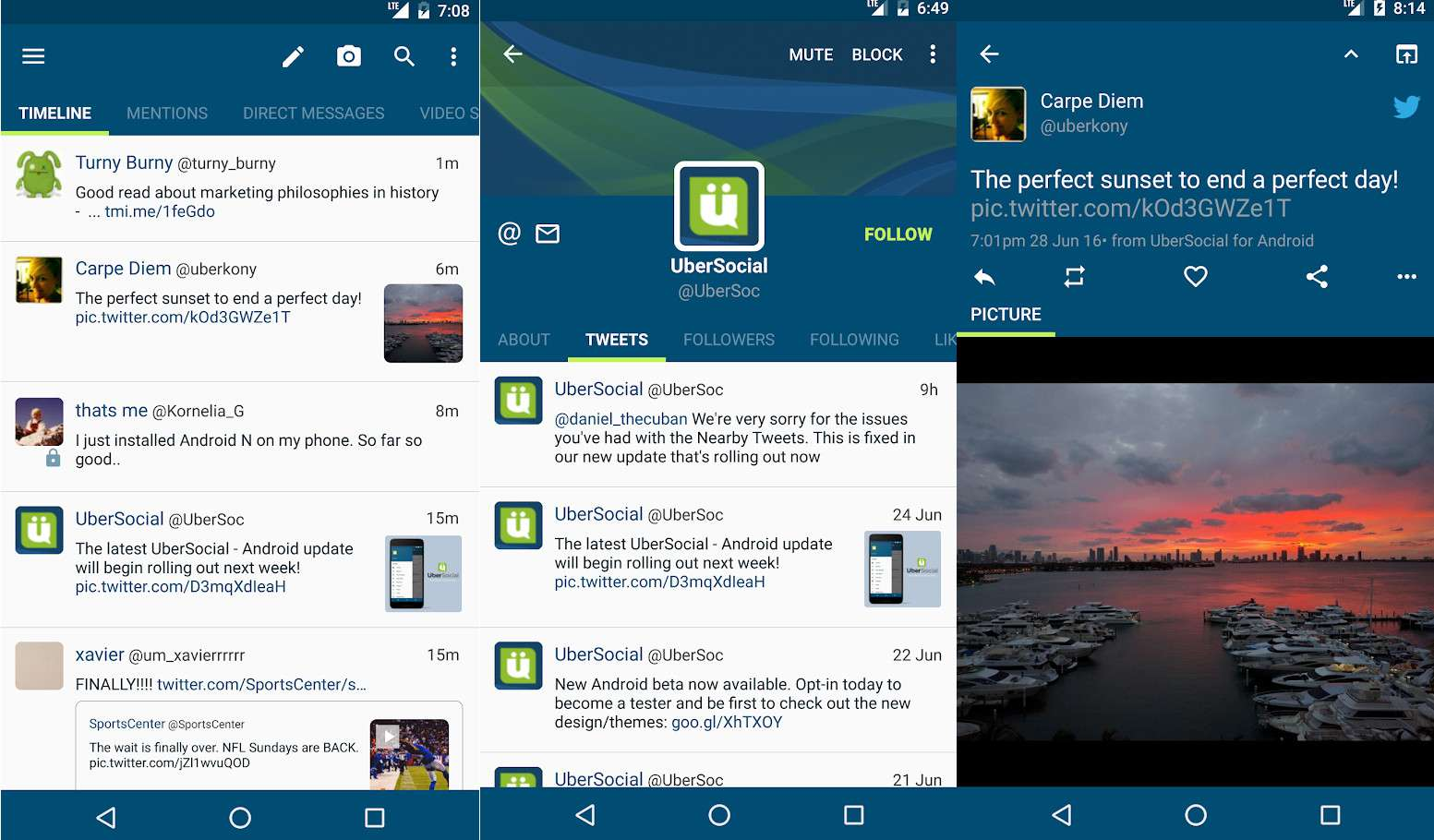 A Twitter profile and feed in the UberSocial app