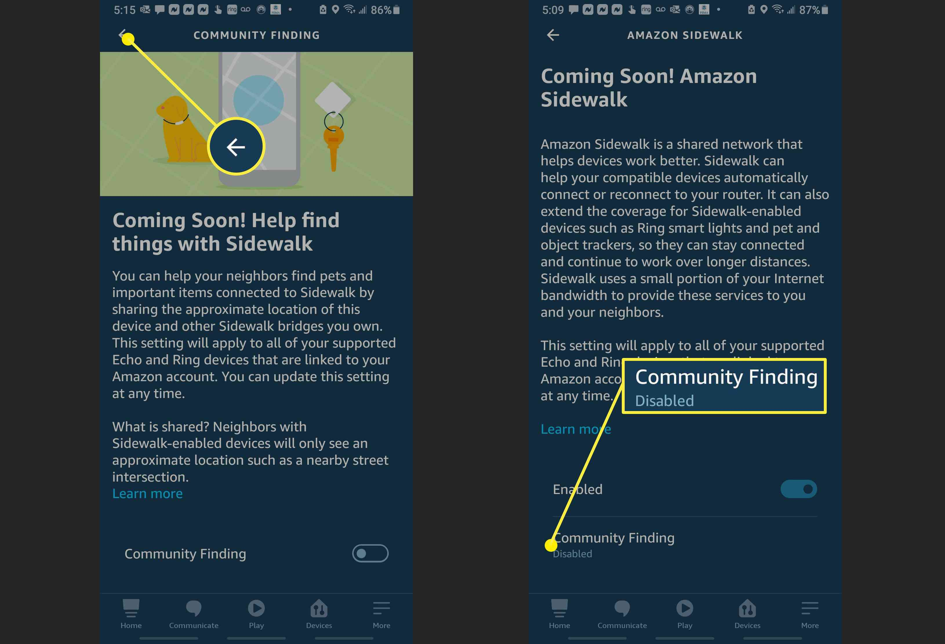Screenshots showing how to confirm Community Finding is disabled in the Alexa App.