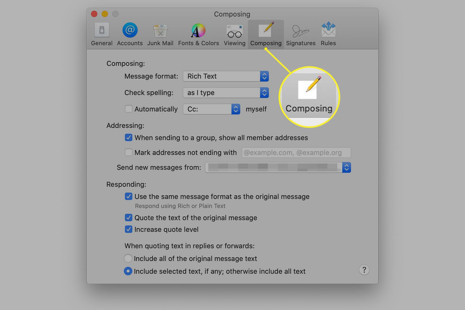 Composing preferences for Mac Mail