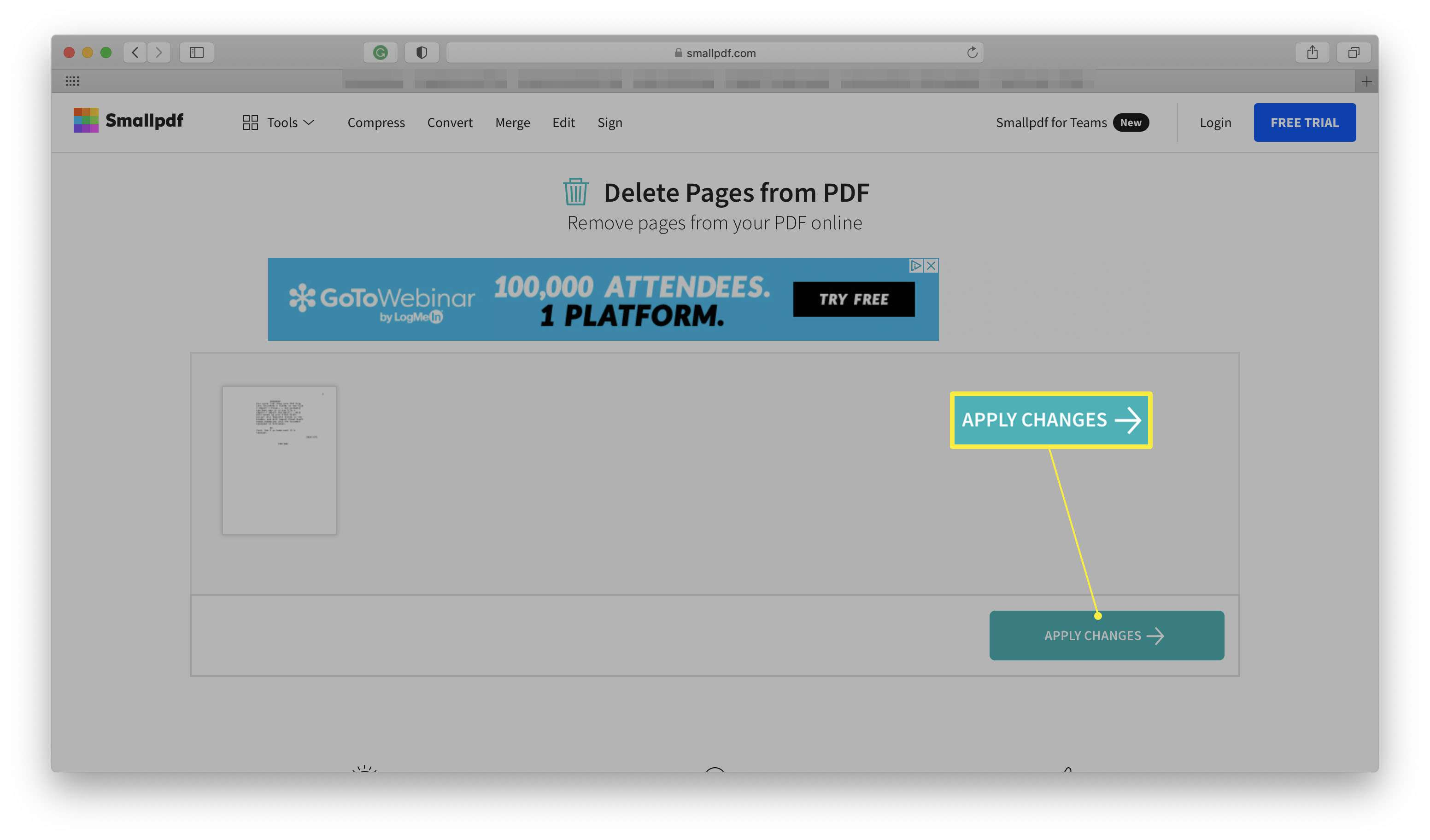 Smallpdf website with Apply Changes highlighted