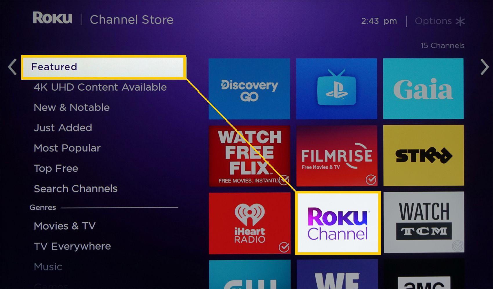 Roku Home Menu – Featured Apps