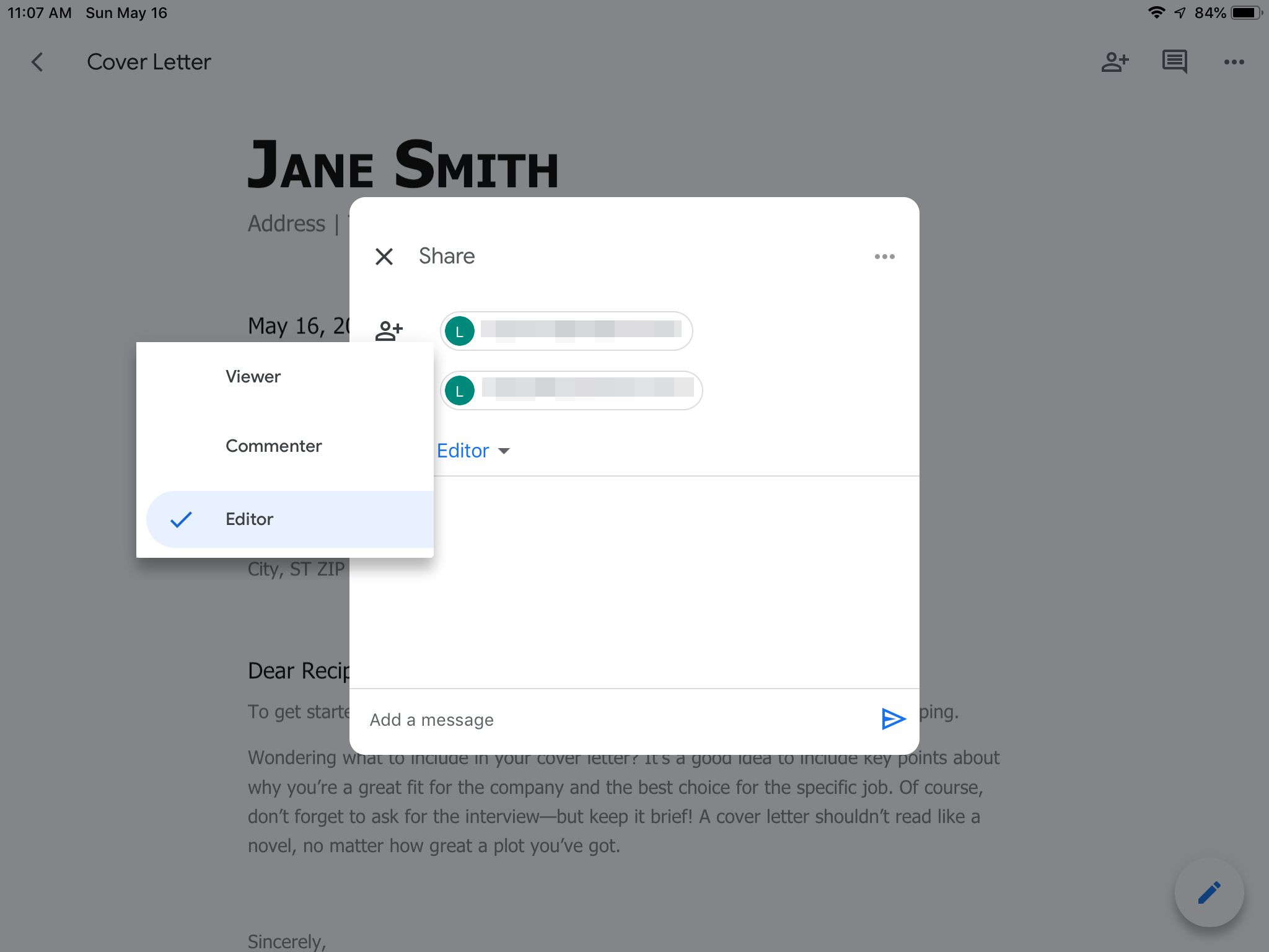 Sharing pane showing assigned privileges