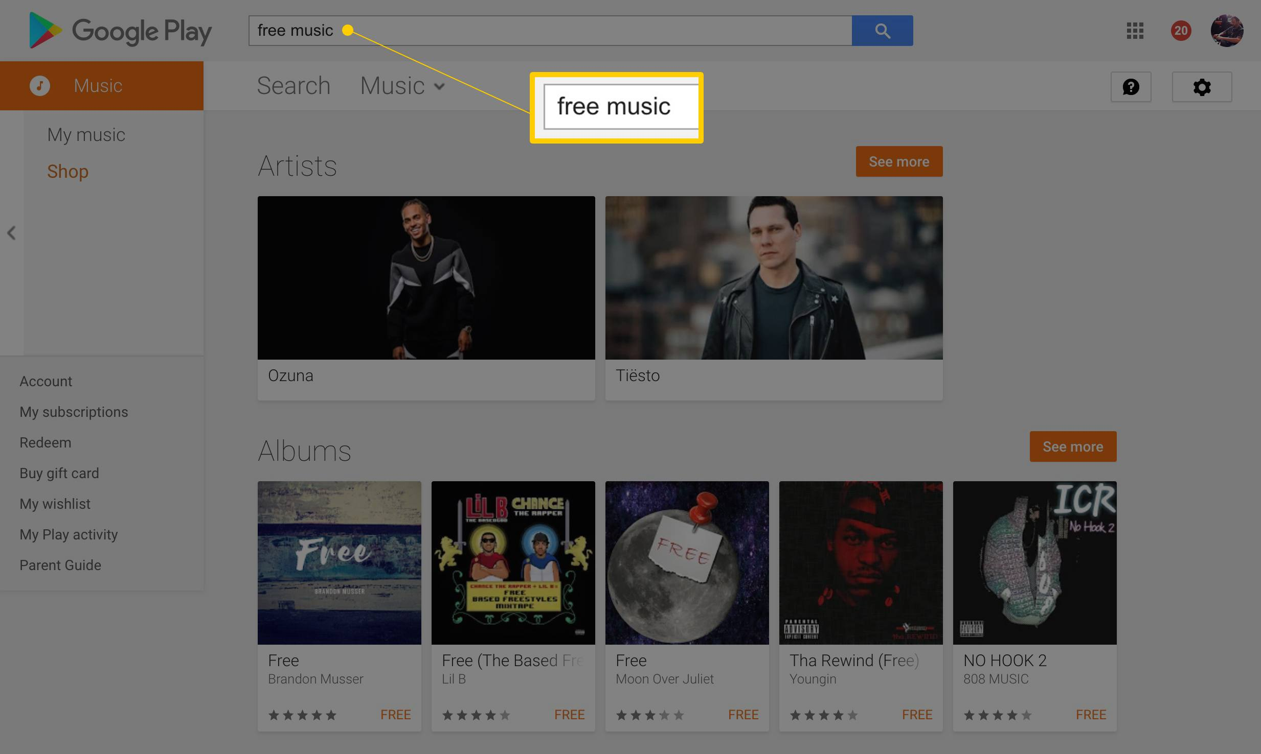 Free Music Search In Google Play