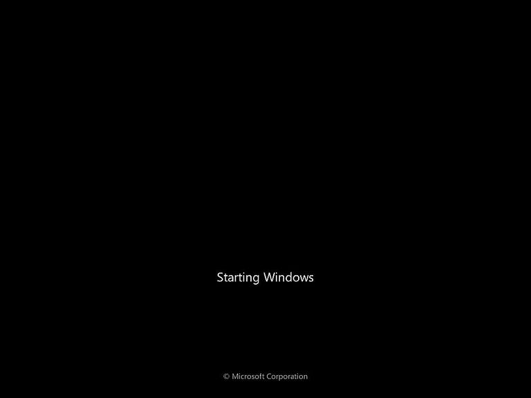 A screenshot of Windows 7 starting up