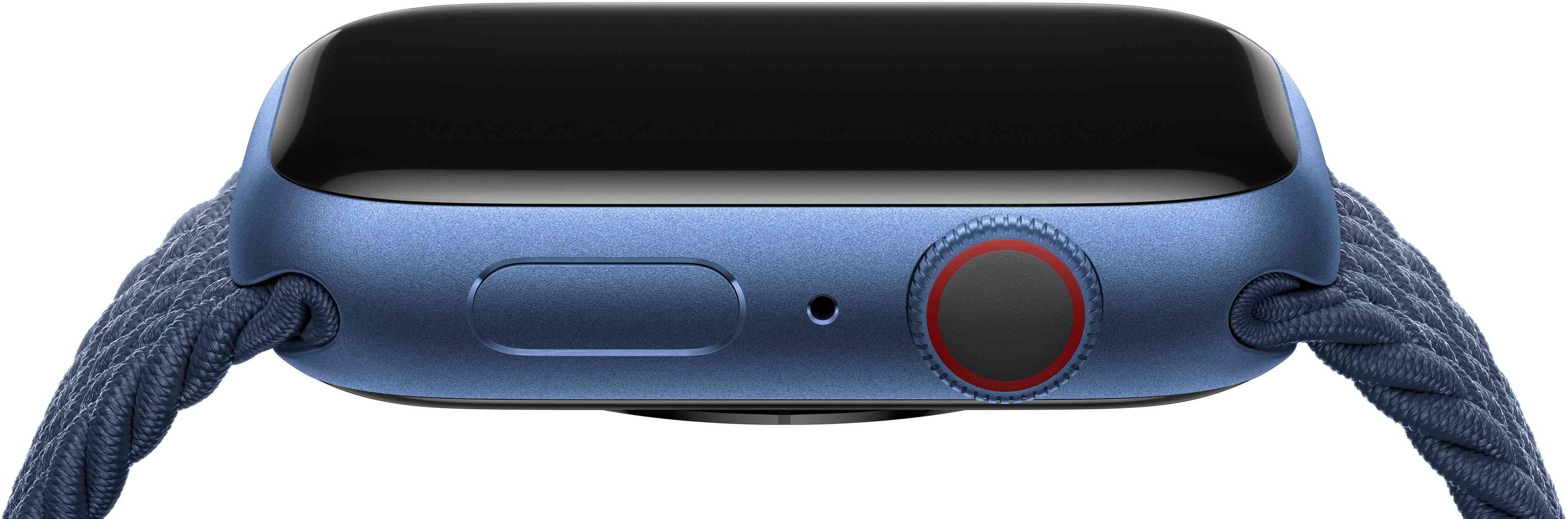 Apple Watch Series 7 side view in blue