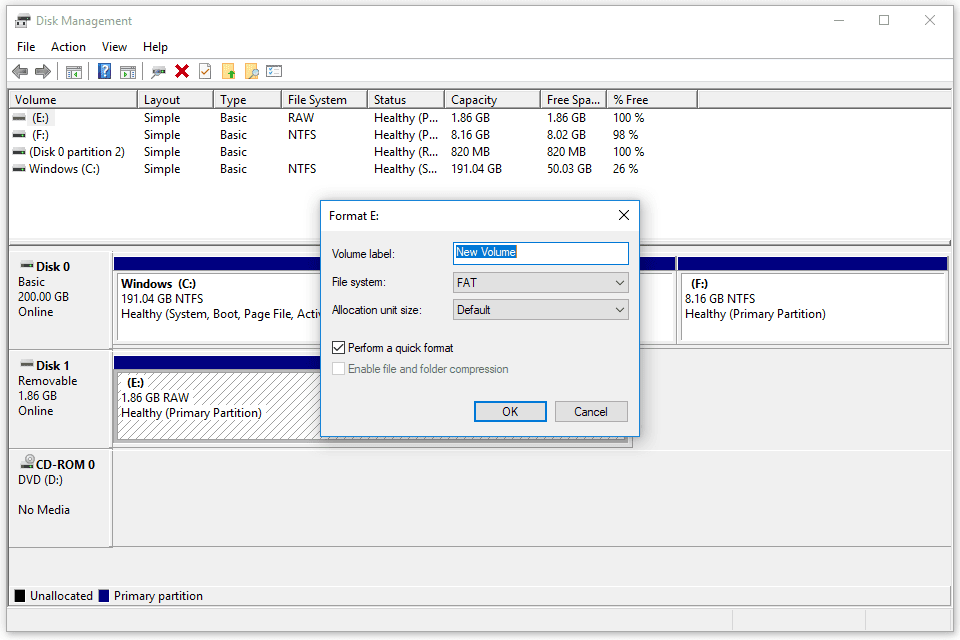 screenshot of the format options in disk management in windows 10