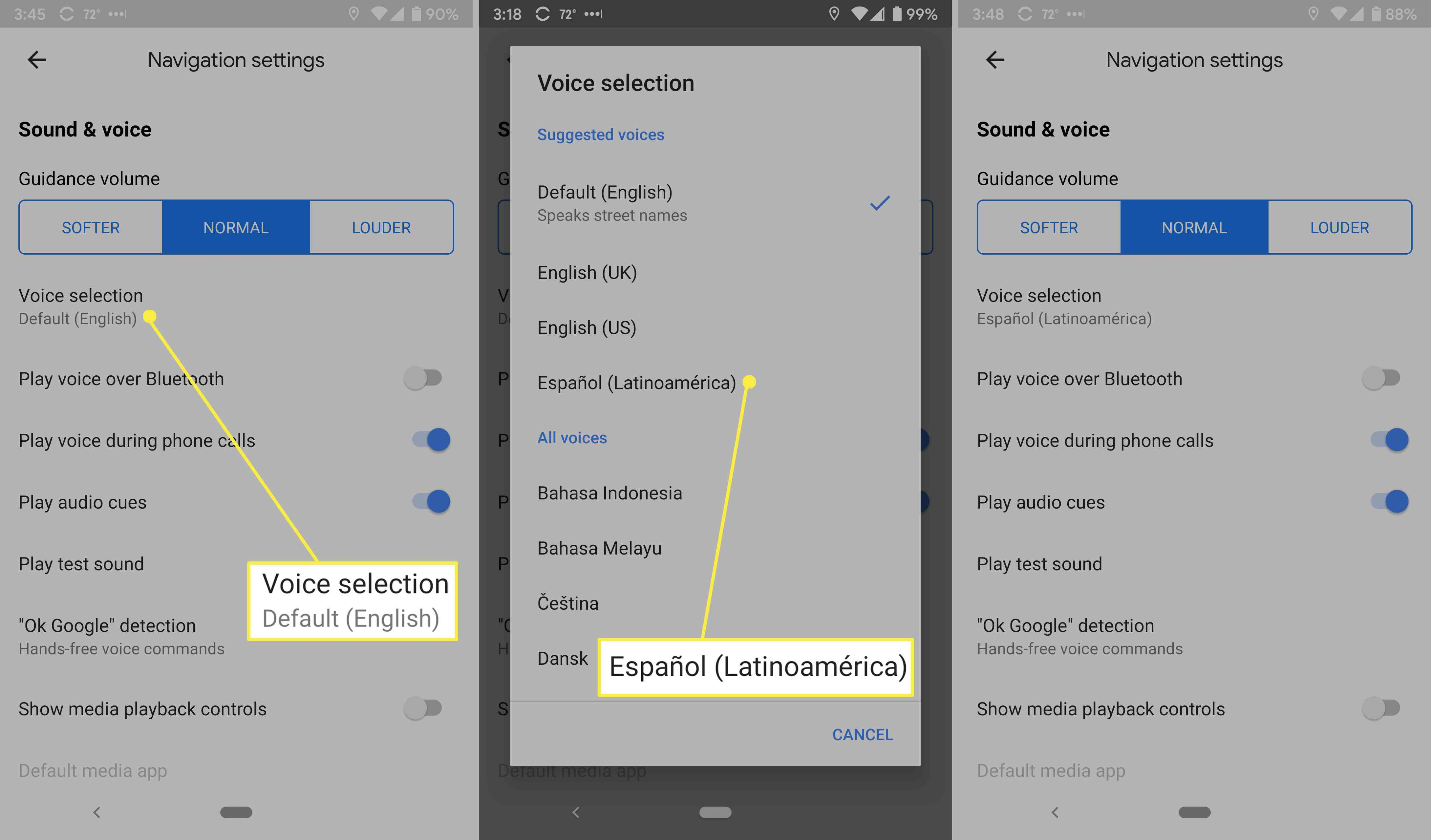 Changing the voice language on Google Maps.
