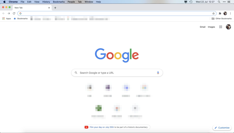 Google Chrome new tab window