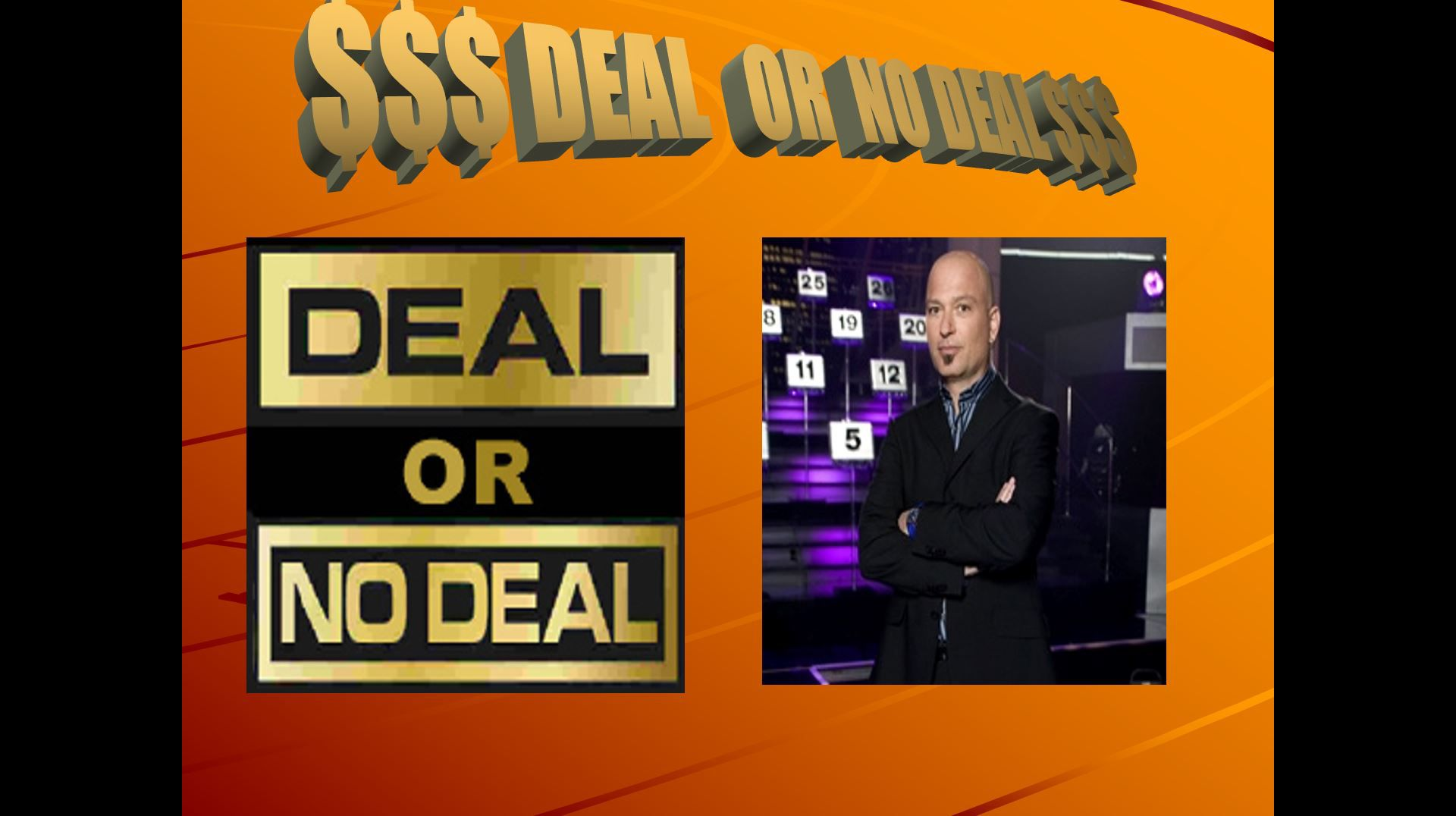 A Deal or No Deal PowerPoint template opening screen.