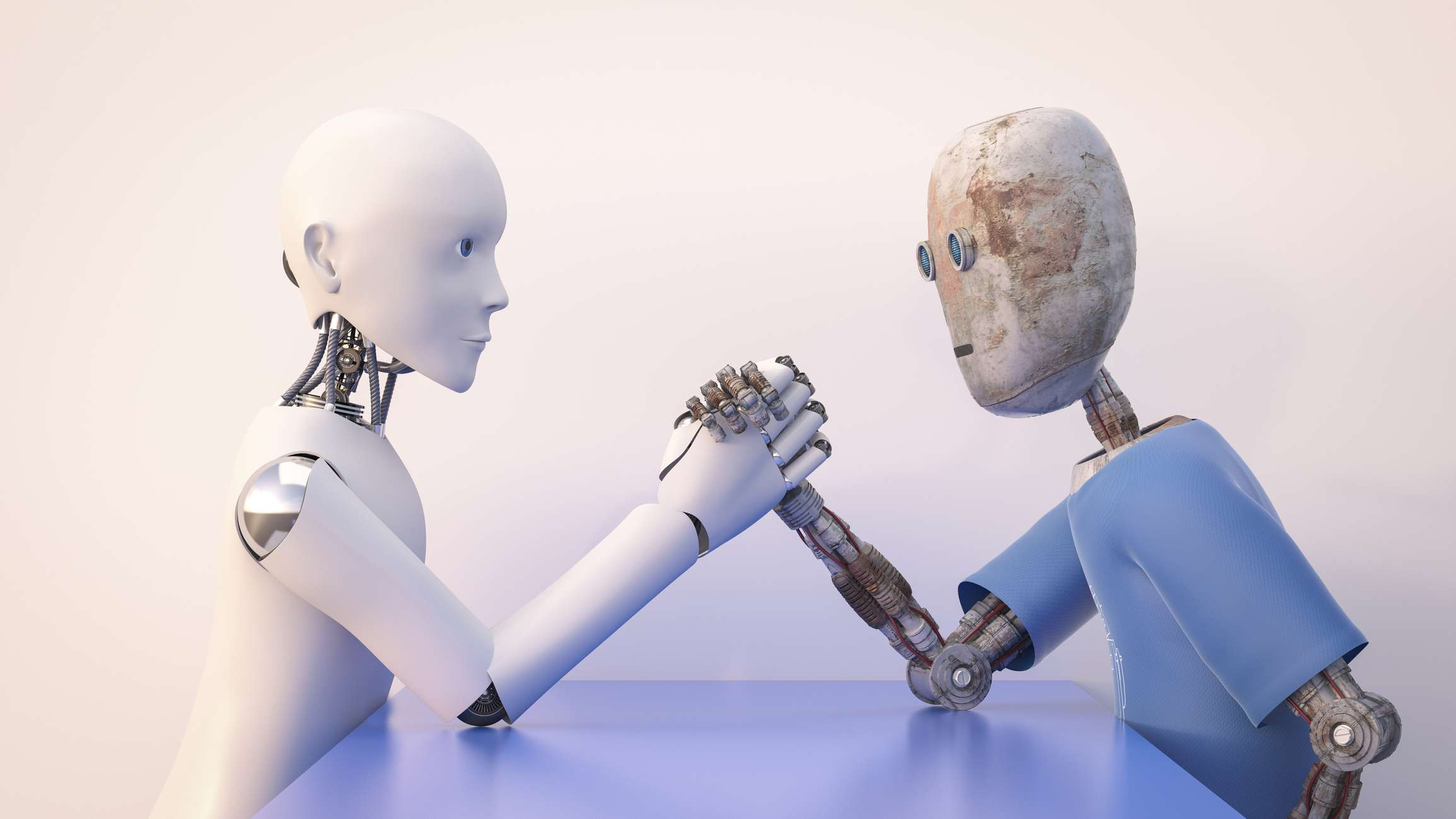Two robots arm wrestling.