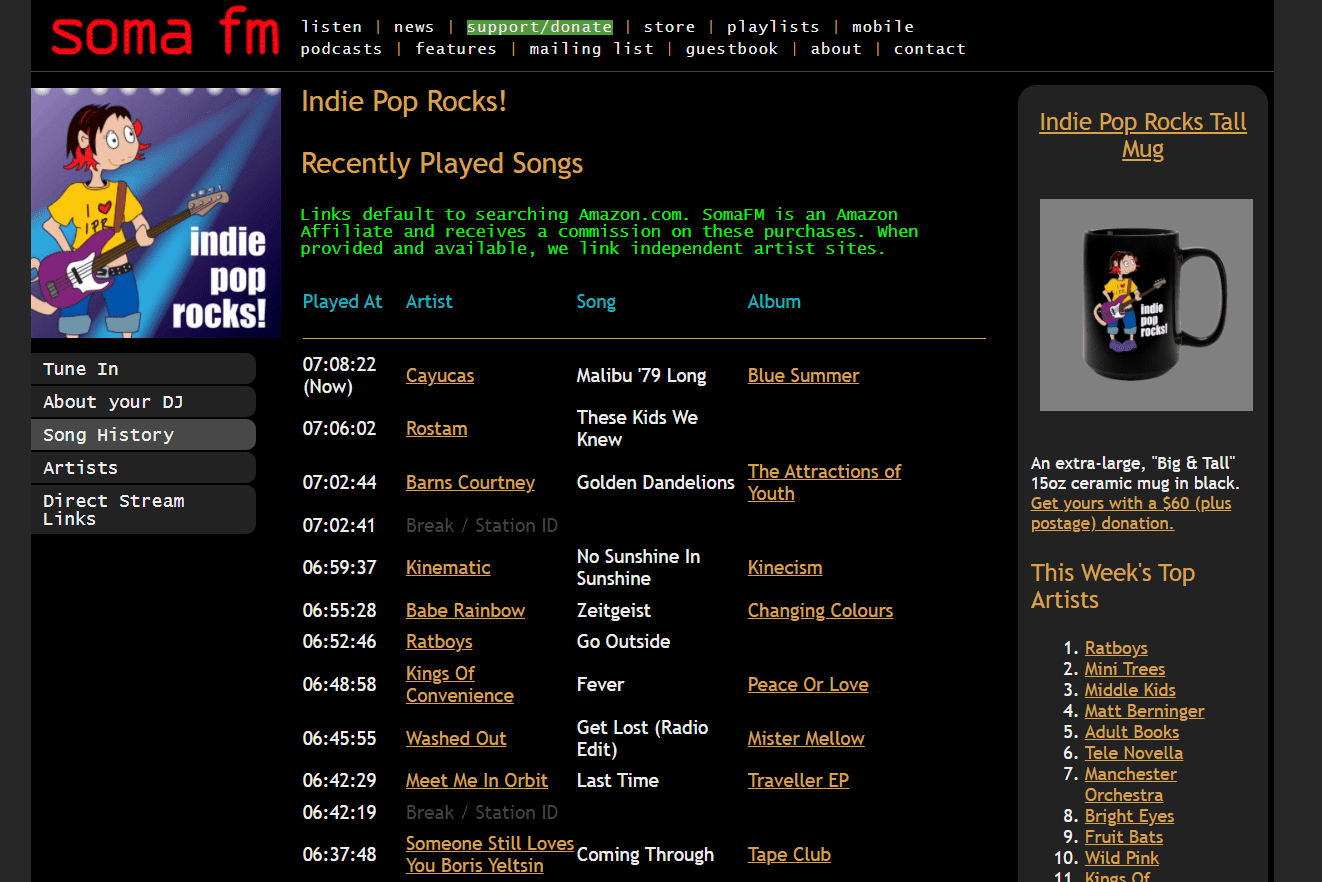SomaFM recently played songs