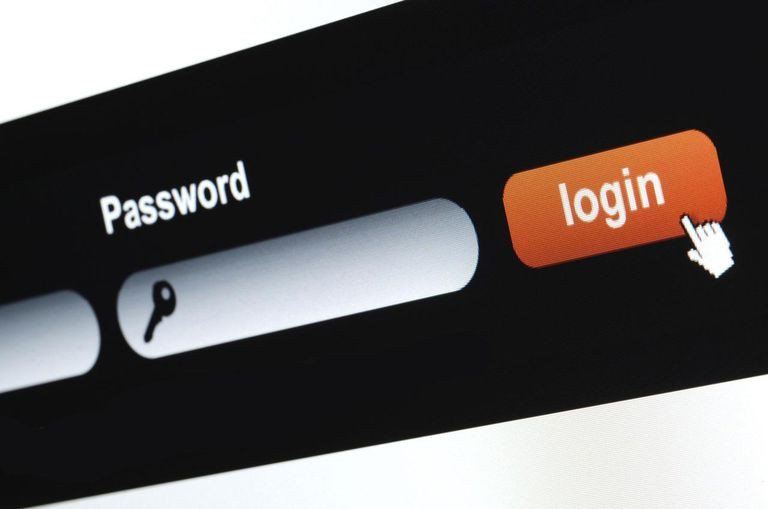Close up of web site login procedure entrance.
