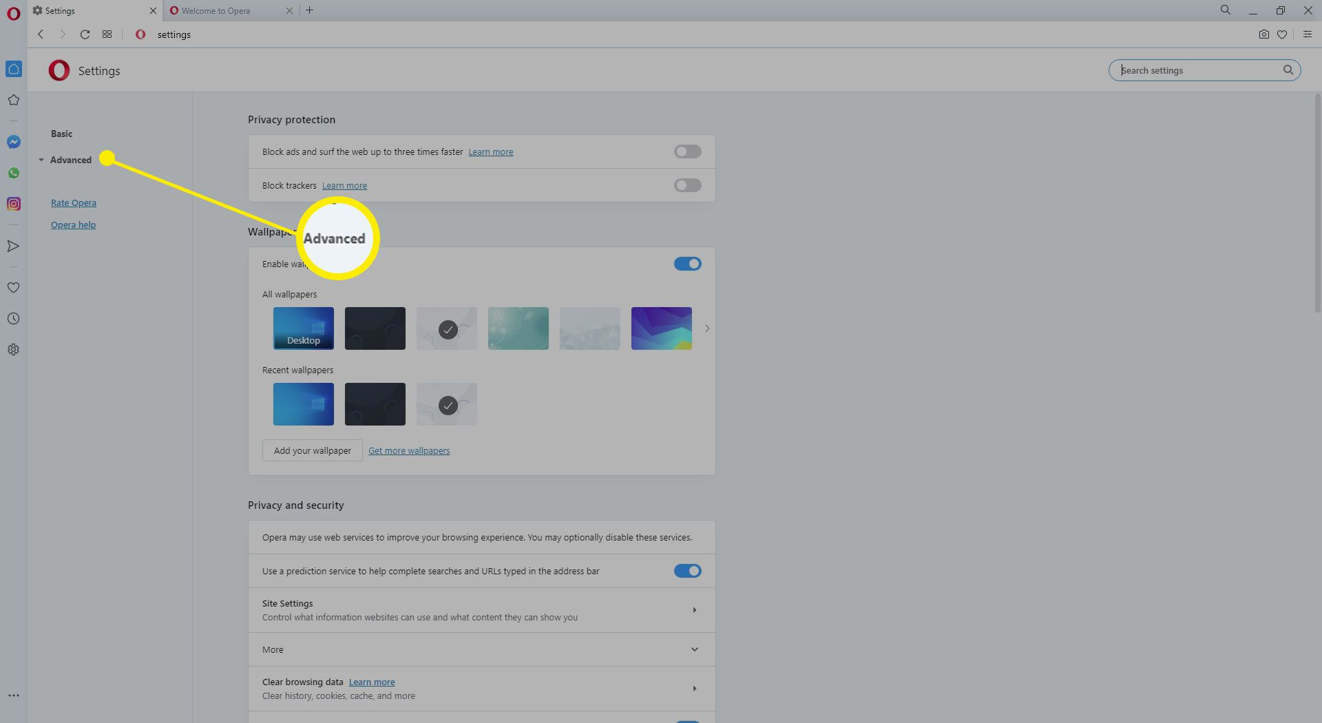 Screenshot of the Opera advanced settings link