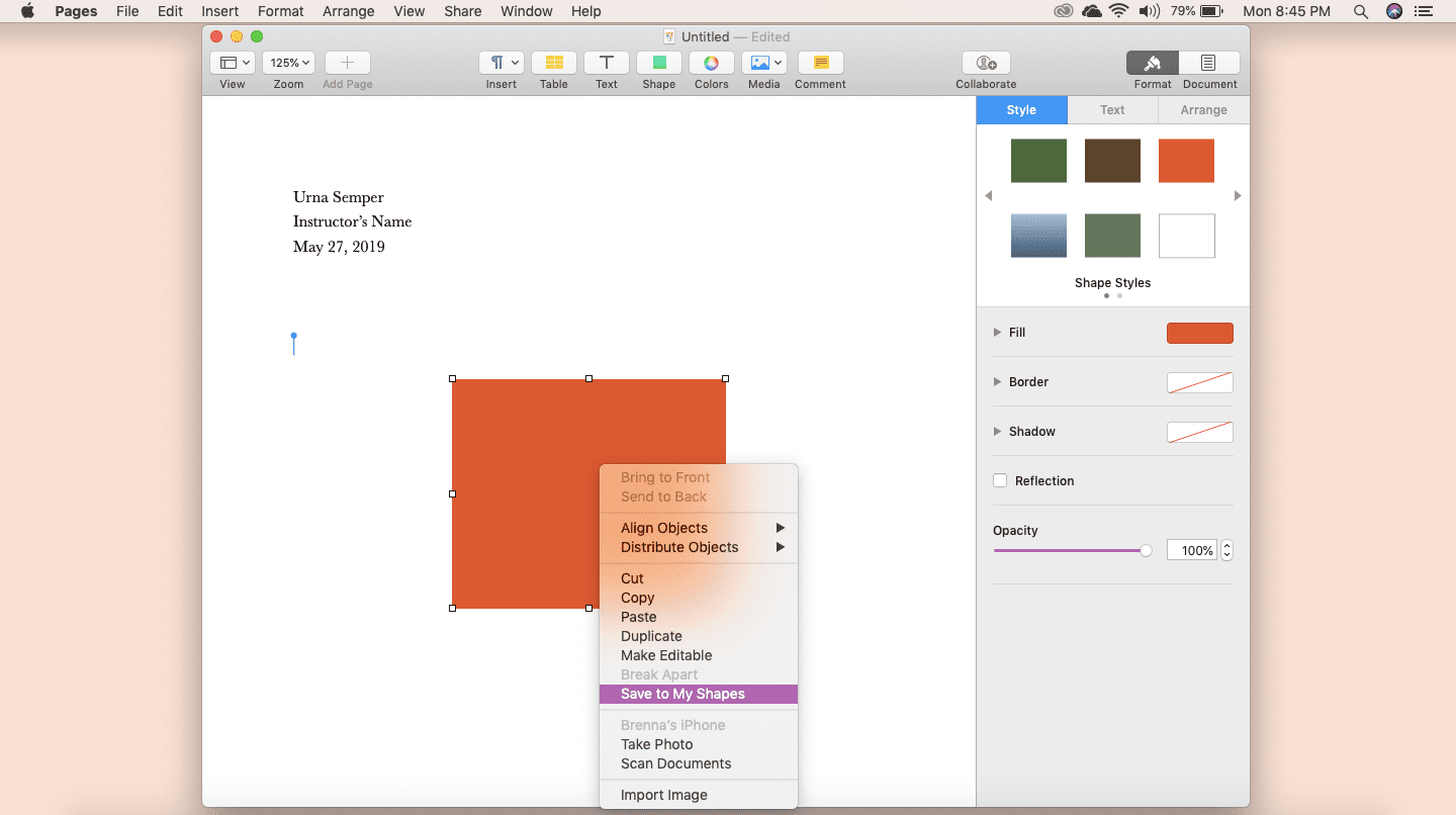 Screenshot of Shape Library feature in Apple Pages