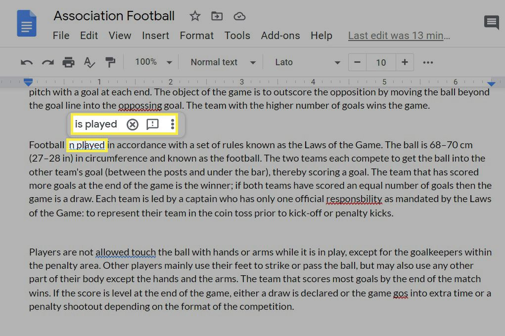 Spelling and grammar mistakes in Google Docs.