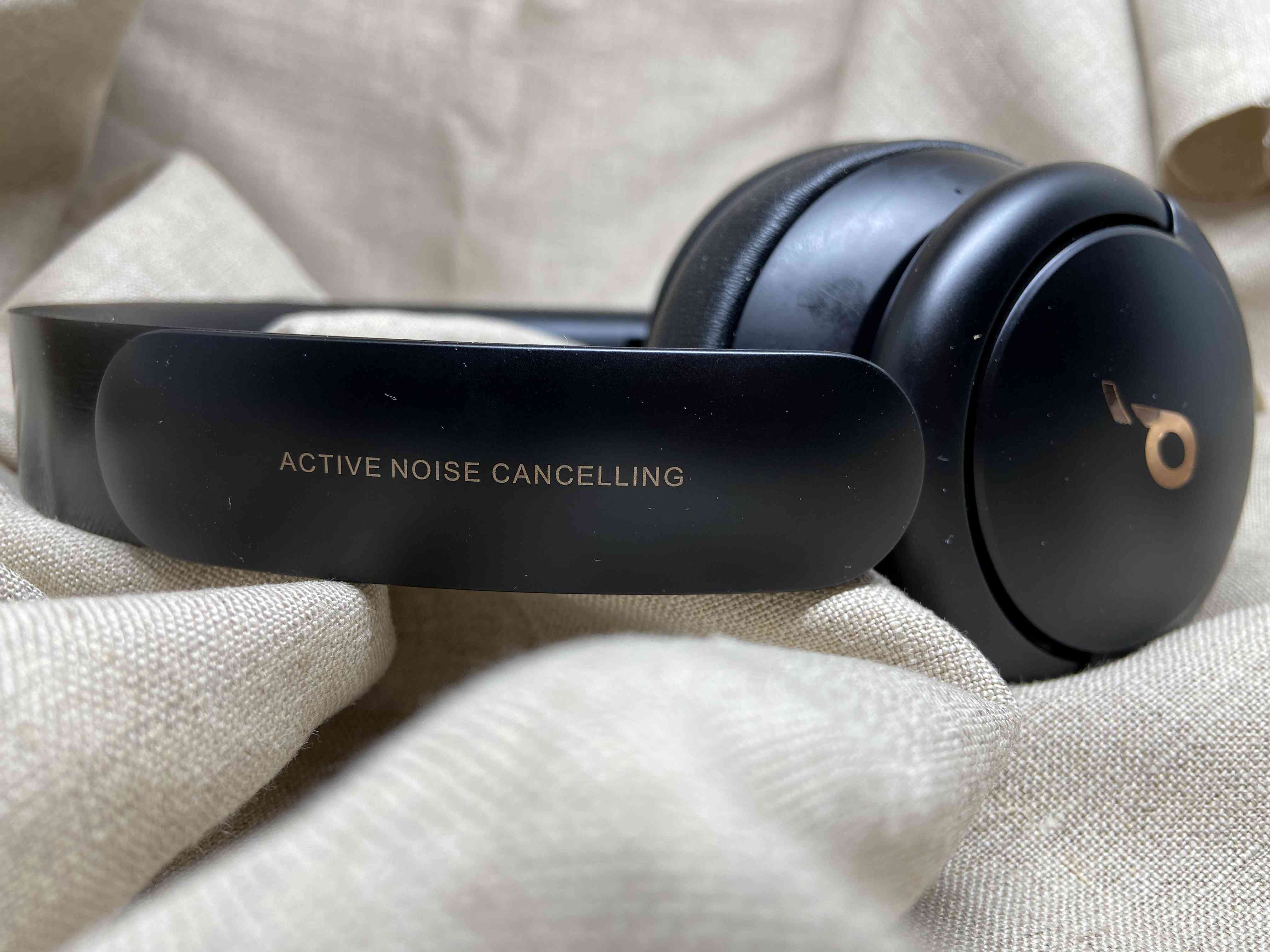 Soundcore Life Q30 headphones on their side, showing