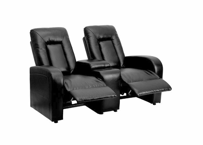 Flash Furniture 2-Seat Black Leather Home Theater Recliner with Storage Console
