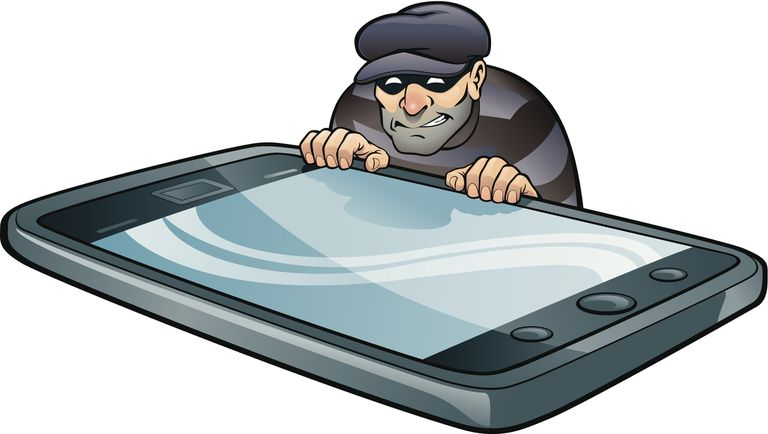 an illustration of a hacker and a smartphone
