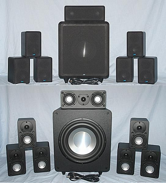 EMP Tek Cinema 7 - 7.1 Channel Speaker System - Photo - Front View - Grills On/Off