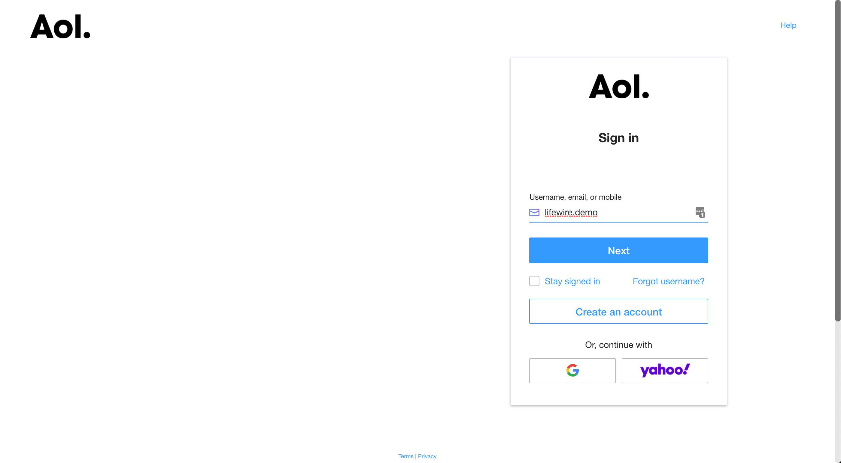 The AOL sign-in screen