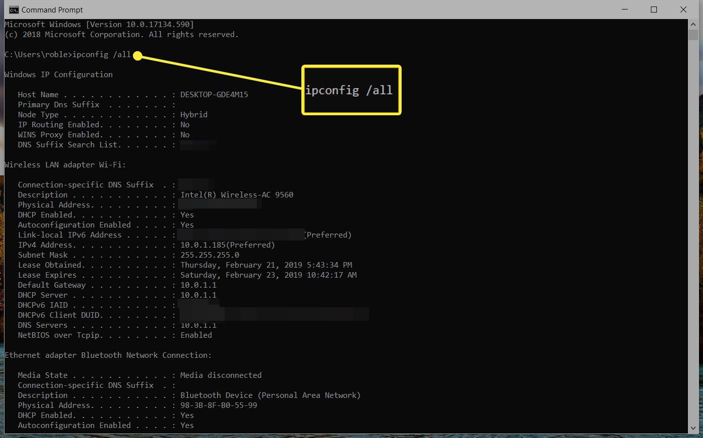 screenshot ipconfig /all command and result in Command Prompt via Windows 10