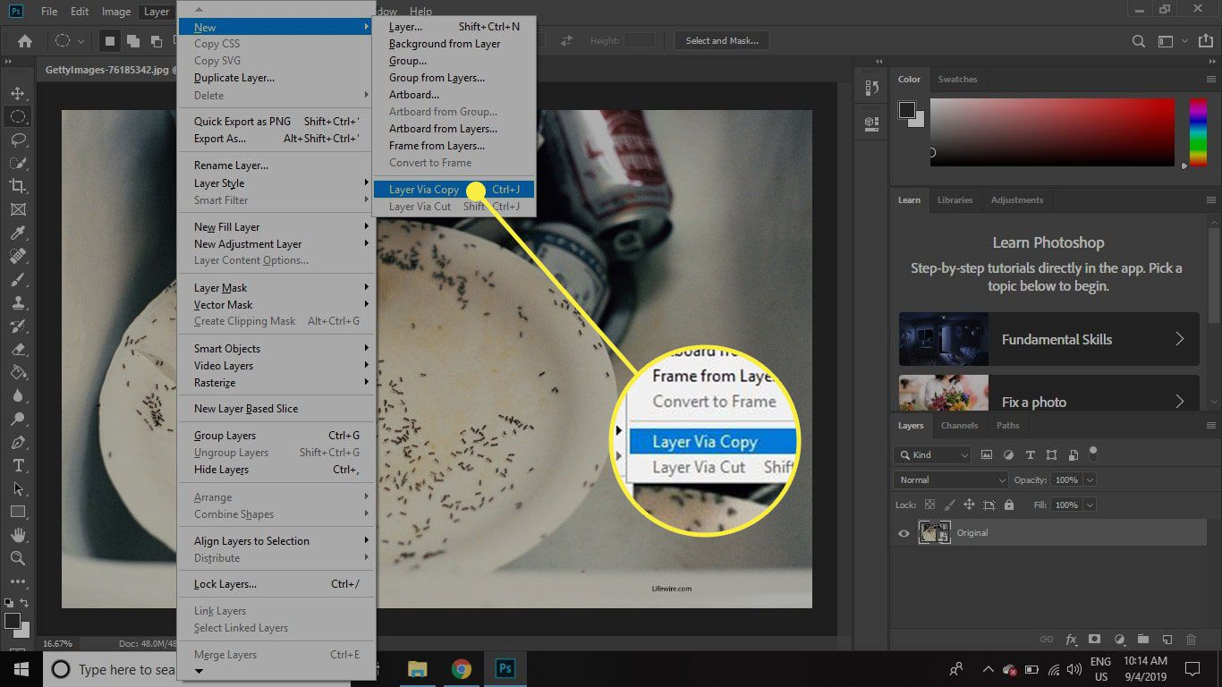 A screenshot of Photoshop with the New Layer Via Copy command highlighted