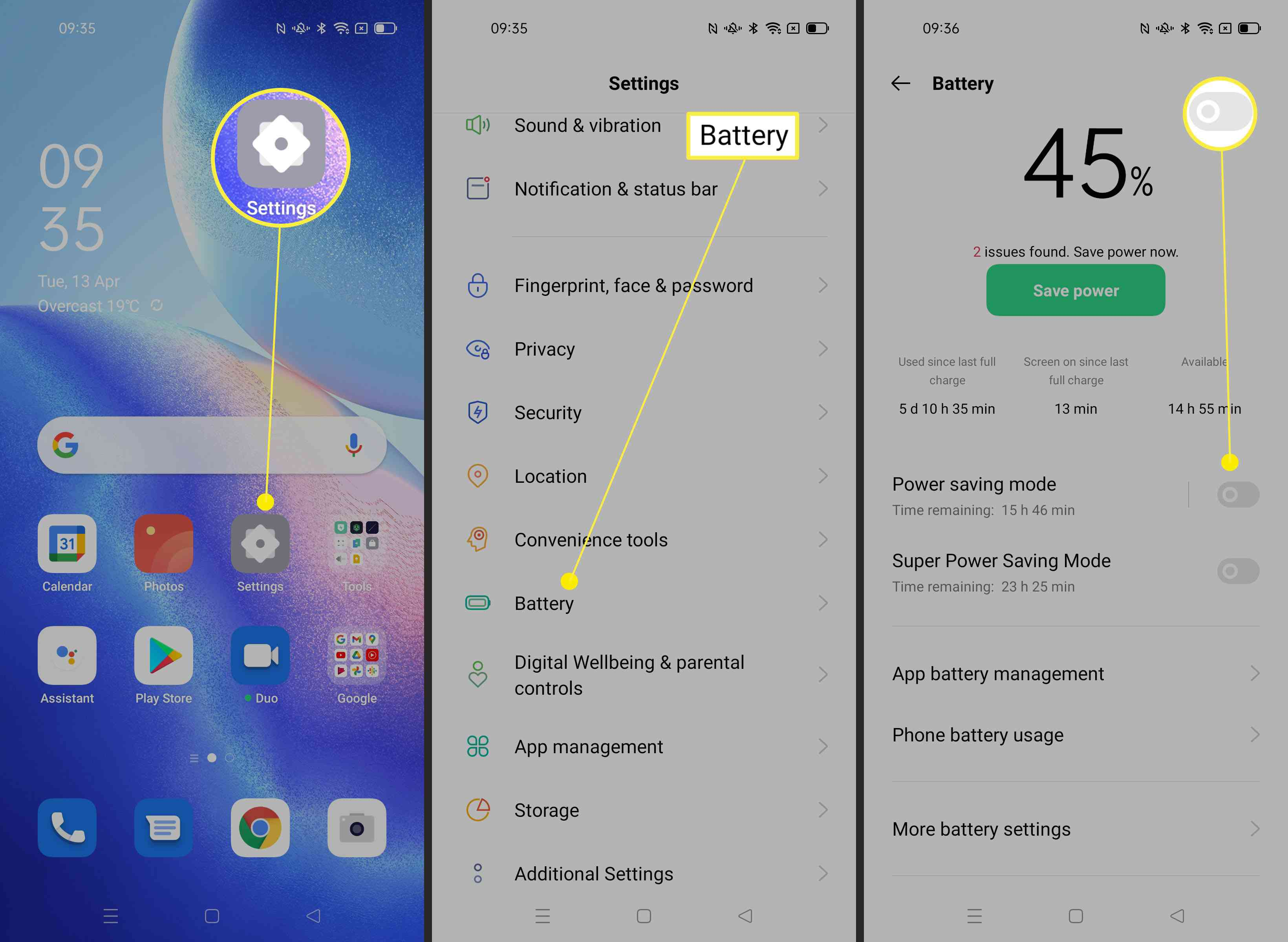 Steps required to toggle on Power Saving Mode on Android