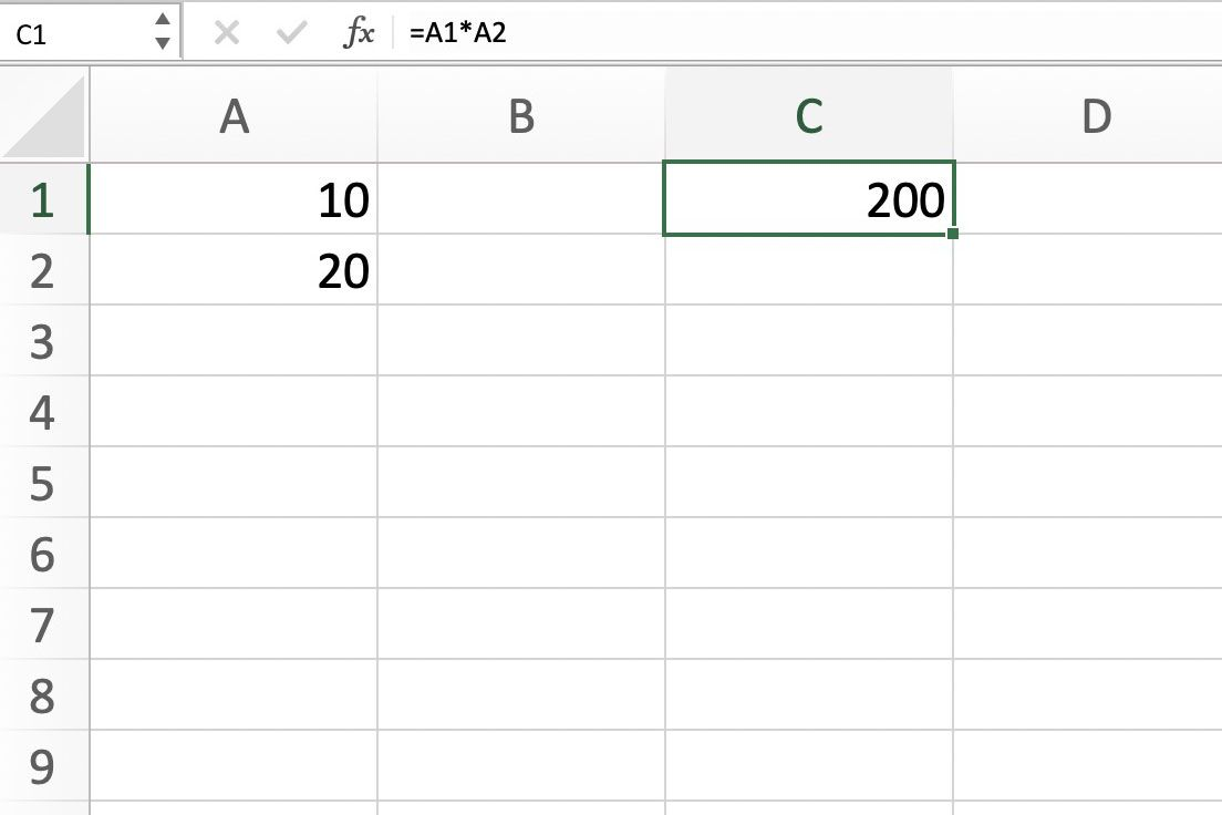 Screenshot of Excel showing the correct results for our formula