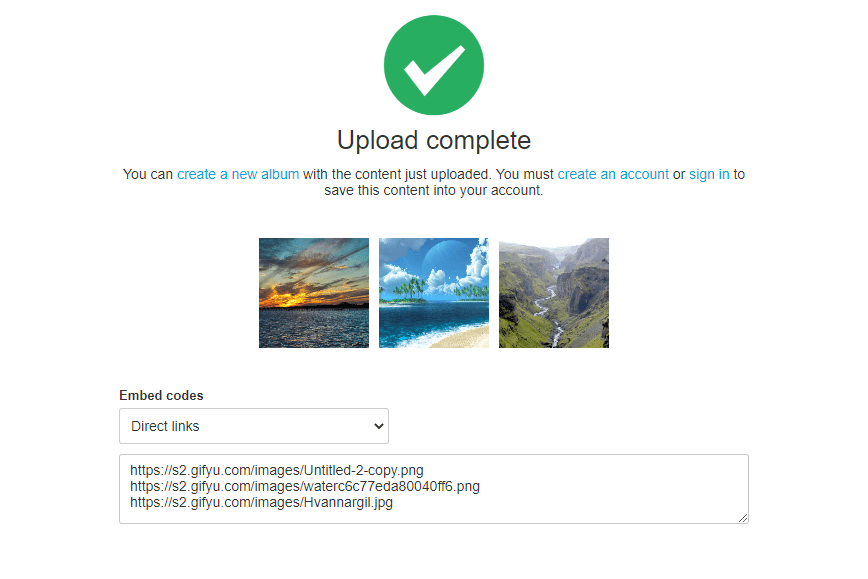 Screenshot of the Gifyu image upload page
